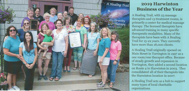 A Healing Trail team picture for 2019 Harwinton Business of the Year award