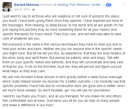 Massage therapy reviews of A Healing Trail