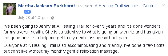 Reviews of A Healing Trail massage therapy